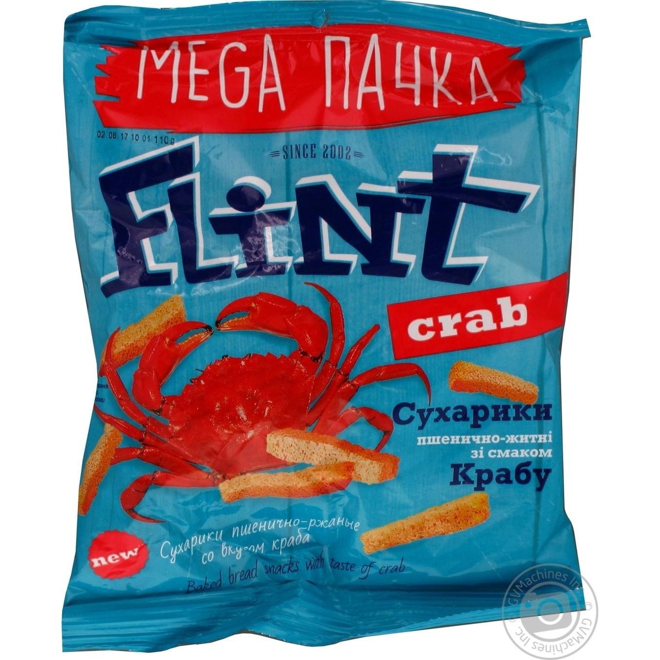 Купить Сухарики Flint пшенично-ржаные со вкусом краба 110г