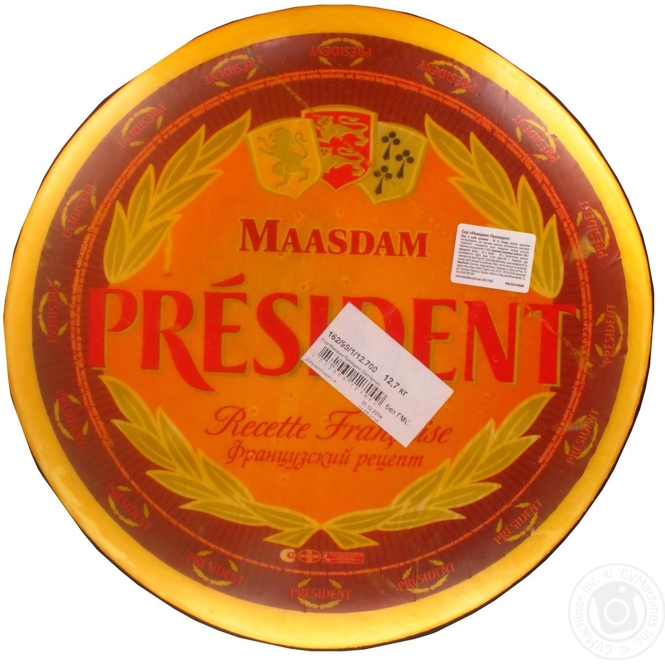 Купить Сыр Президент Мааздам твердый головка 48%