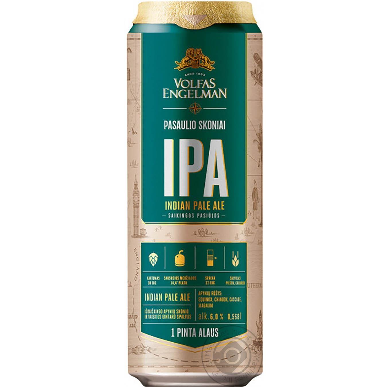 Купить Ціну зафіксовано, Пиво Volfas Engelman IPA світле нефільтроване 0, 568л ж/б