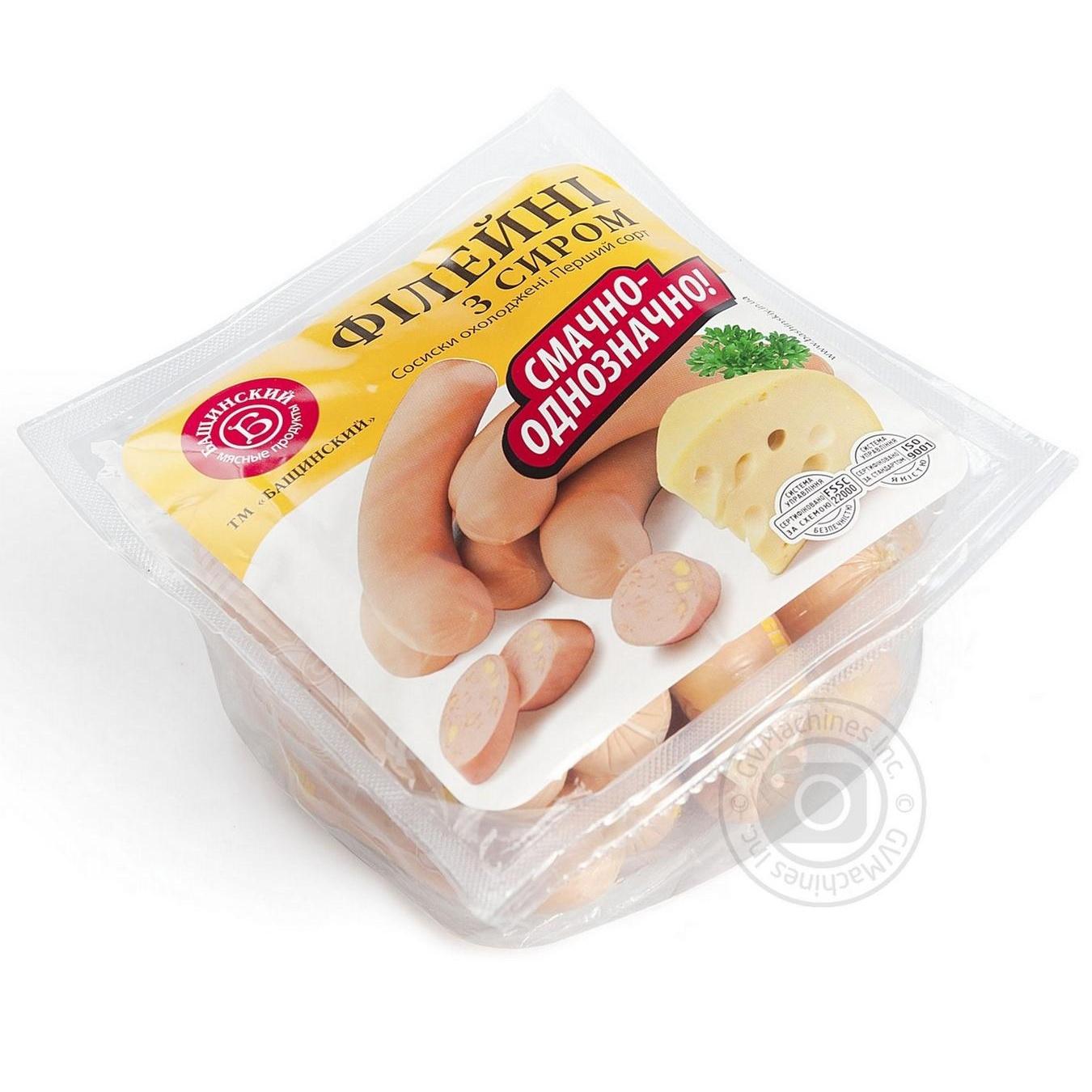 Купить Сосиски Бащинский Филейные с сыром охлажденные 480г