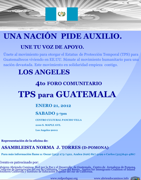 Cuarto foro del TPS y los Guatemaltecos en Los Angeles
