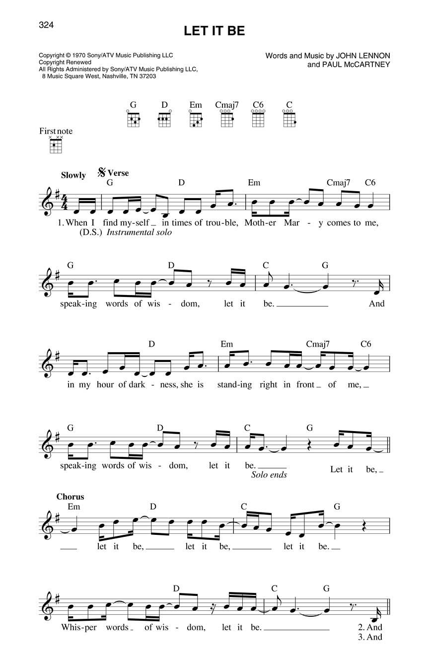 Ukulele fake book 55 x 85 edition melodylyricschords stand by me let it be hexwebz Images
