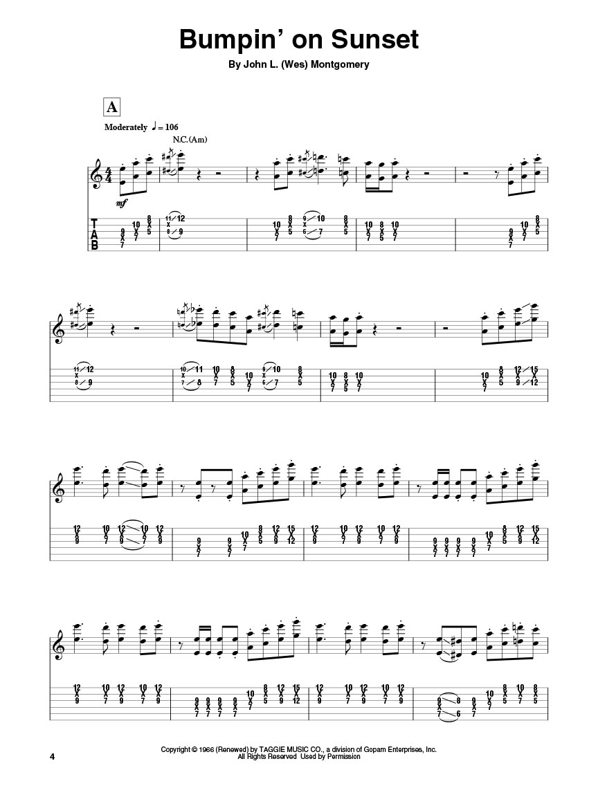 Wes Montgomery Guitar Play Along Volume 159 Guitar Tab