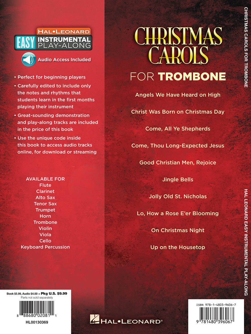 Christmas Carols Trombone Easy Instrumental Play Along Book With