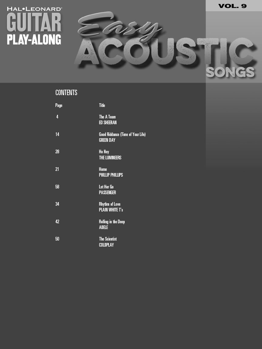 Easy Acoustic Songs Guitar Play Along Volume 9 Guitar Tab Book