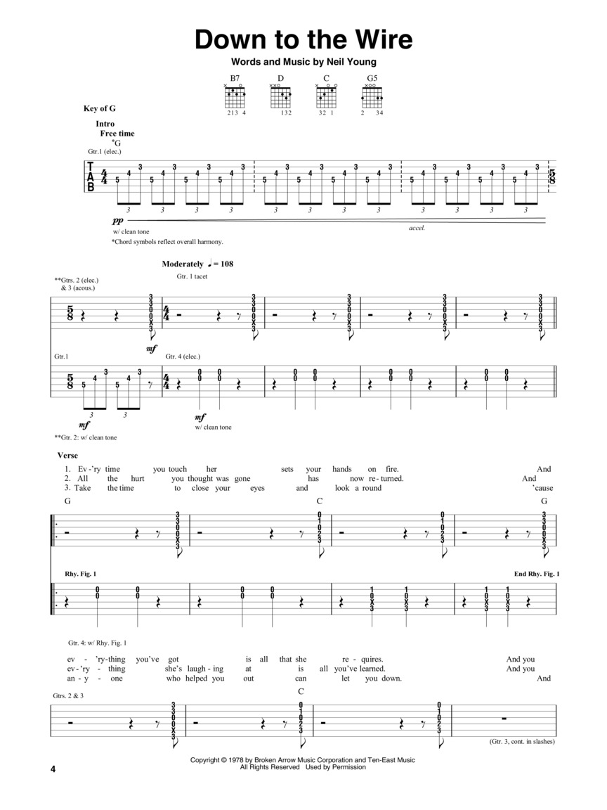 Neil Young Decade Guitar Tab Guitar Tab 160402