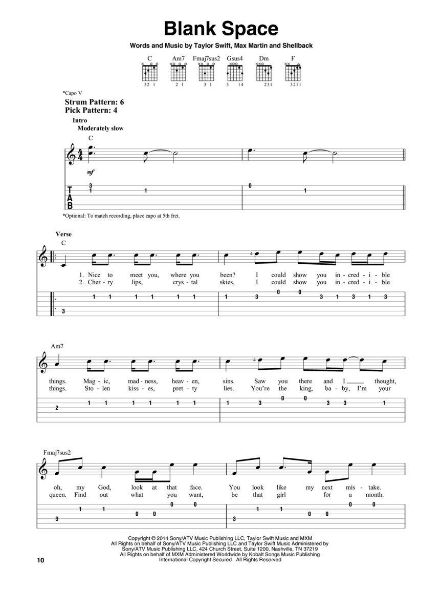 Taylor Swift Easy Guitar Anthology Guitar Tab Easy Guitar With Notes Tab 254499