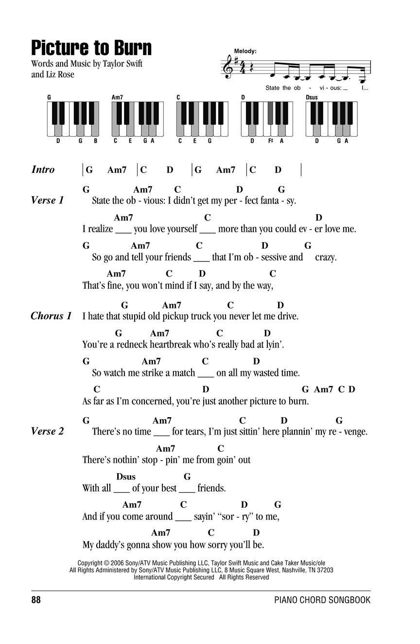 Taylor Swift Piano Chord Songbook Lyricschord Symbolspiano