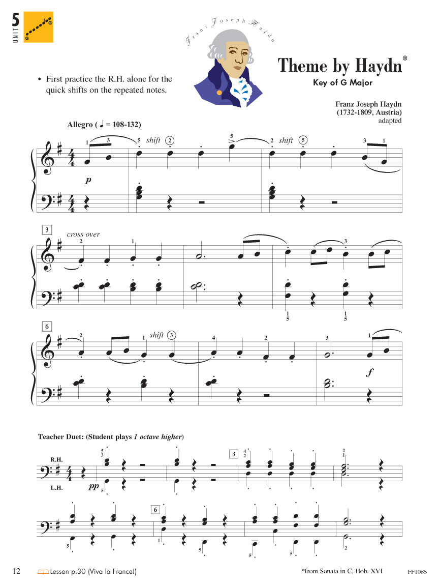 Piano Adventures ® Primer Level Concepts hand position and finger numbers note values (quarter, half, dotted half, whole) key names: A B C D E F G steps and skips on.