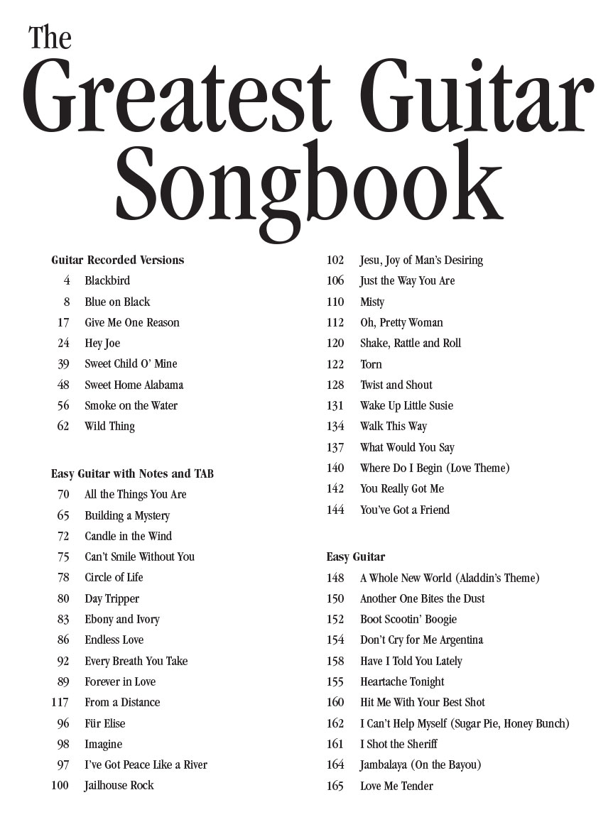 The Greatest Guitar Songbook Guitar Tab Guitar Collection 699142