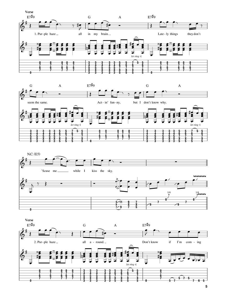 Jimi Hendrix Experience Smash Hits Guitar Play Along Volume 47