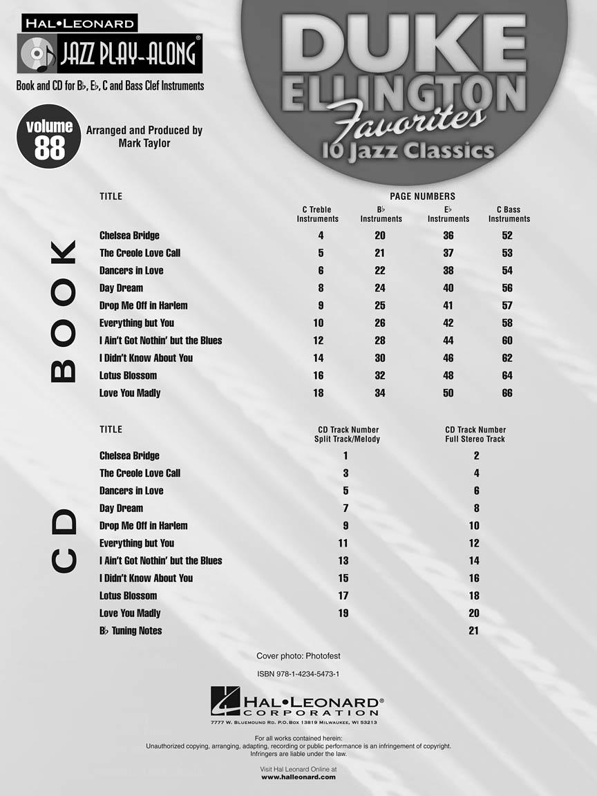 Duke Ellington Favorites Jazz Play Along Volume 88
