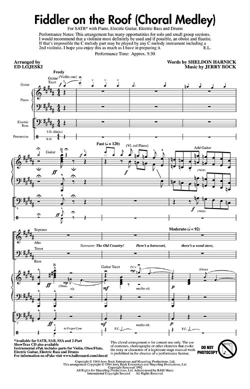 Fiddler On The Roof Medley Sheet Music By Jerry Bock