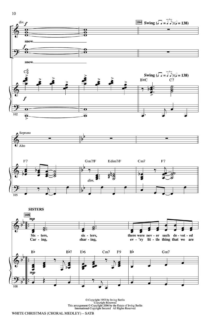White Christmas (Choral Medley) (SATB) : arr. Mac Huff : SATB ...