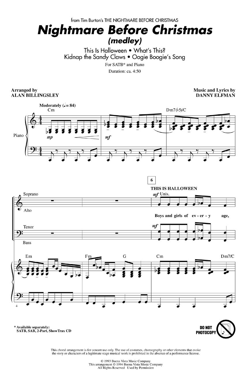 The Nightmare Before Christmas : (Choral Medley) (SATB) : arr. Alan ...
