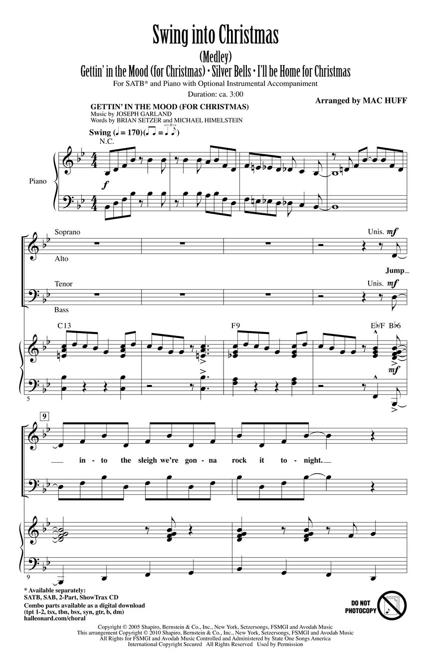 Swing into Christmas : (Medley) (SATB) : arr. Mac Huff : SATB ...