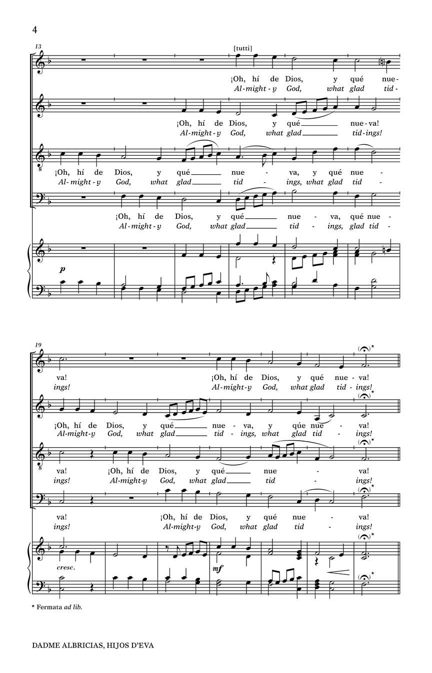 Dadme albricias, hijos d\'Eva - (from Three Spanish Christmas Carols ...