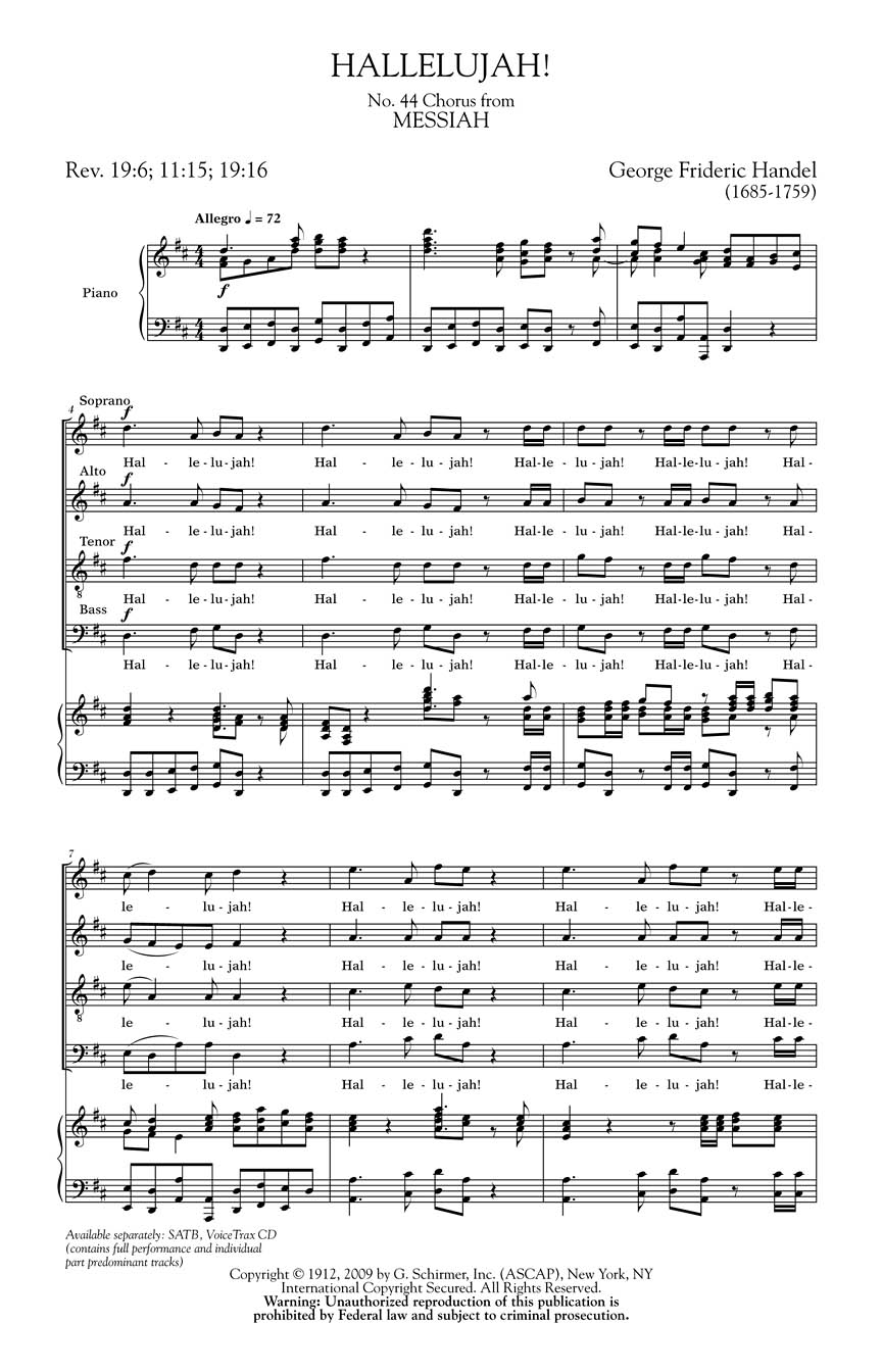 messiah hallelujah chorus by g handel The finale of the second part of handel's messiah, the hallelujah chorus is a beloved piece of music lyrically, it announces jesus's triumphant reign after his resurrection.