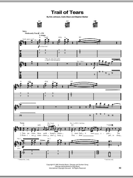 Trail Of Tears sheet music for guitar solo (tablature) by Carla Olson