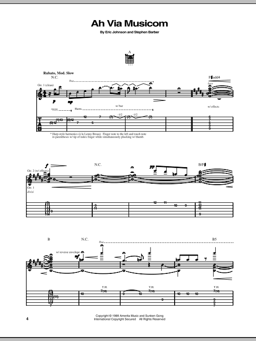 Tablature guitare Ah Via Musicom de Eric Johnson - Tablature Guitare