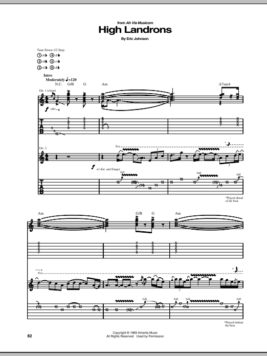 Tablature guitare High Landrons de Eric Johnson - Tablature Guitare