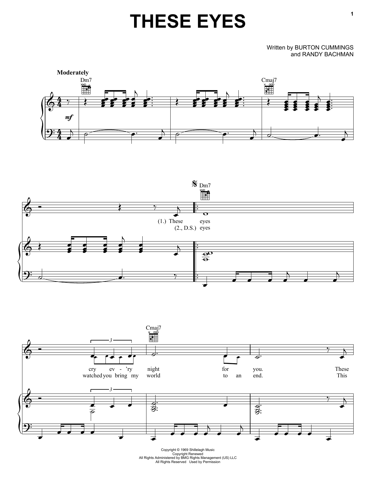 These Eyes sheet music for voice, piano or guitar by Randy Bachman