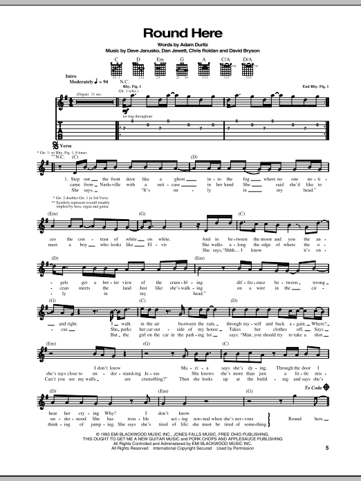 Round Here sheet music for guitar solo (tablature) by David Bryson