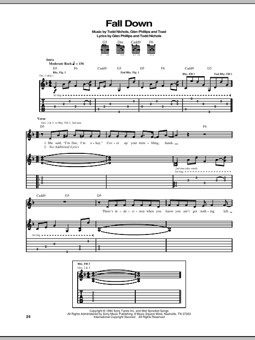 Tablature guitare Fall Down de Toad The Wet Sprocket - Tablature Guitare