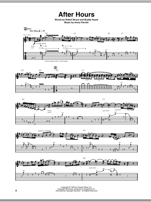 After Hours sheet music for guitar solo (tablature) by Robert Bruce