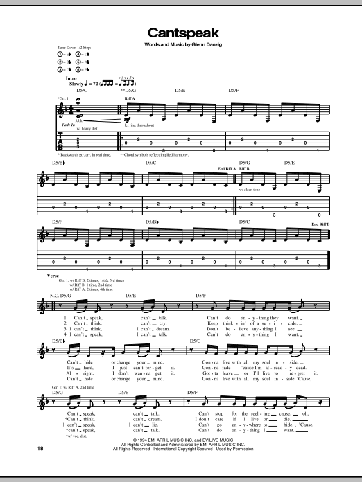 Tablature guitare Cantspeak de Danzig - Tablature Guitare