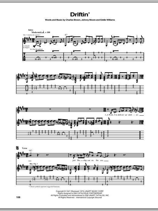 Driftin' Blues sheet music for guitar solo (tablature) by Johnny Moore