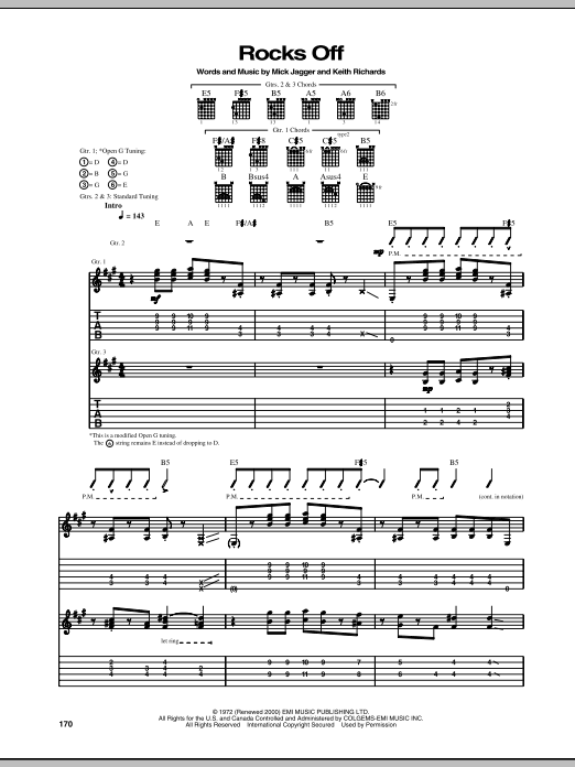 Tablature guitare Rocks Off de The Rolling Stones - Tablature Guitare