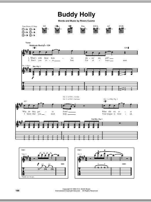 Tablature guitare Buddy Holly de Weezer - Tablature Guitare