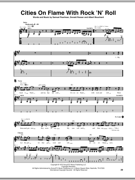 Cities On Flame With Rock 'N' Roll sheet music for guitar solo (tablature) by Samuel Pearlman