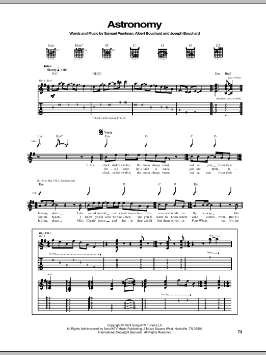Astronomy sheet music for guitar solo (tablature) by Samuel Pearlman
