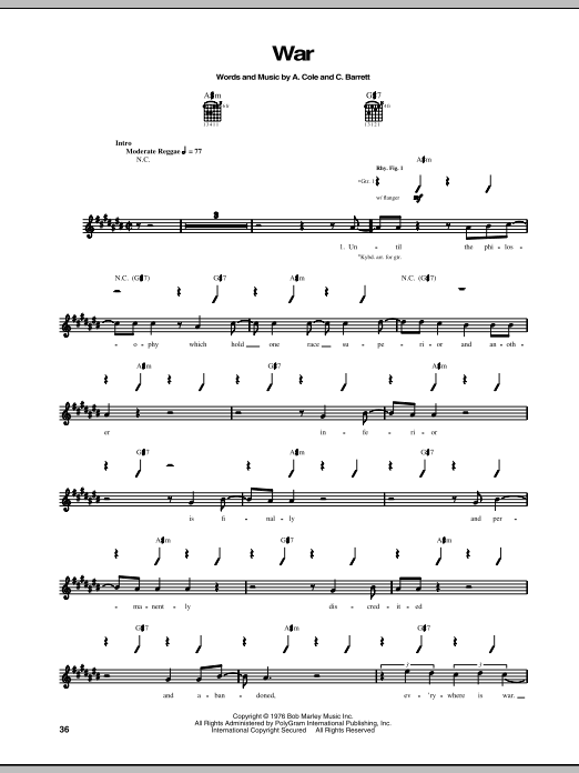 Tablature guitare War de Bob Marley - Tablature Guitare