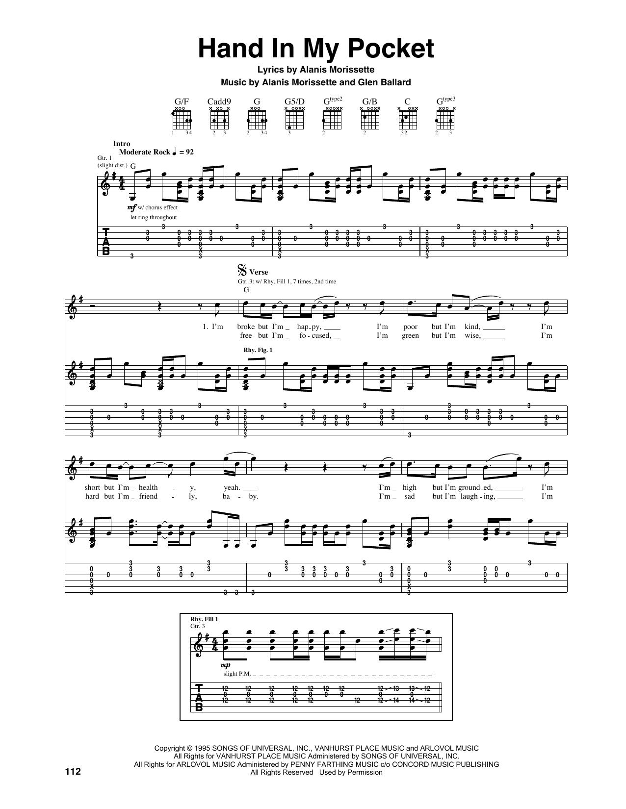Tablature guitare Hand In My Pocket de Alanis Morissette - Tablature Guitare