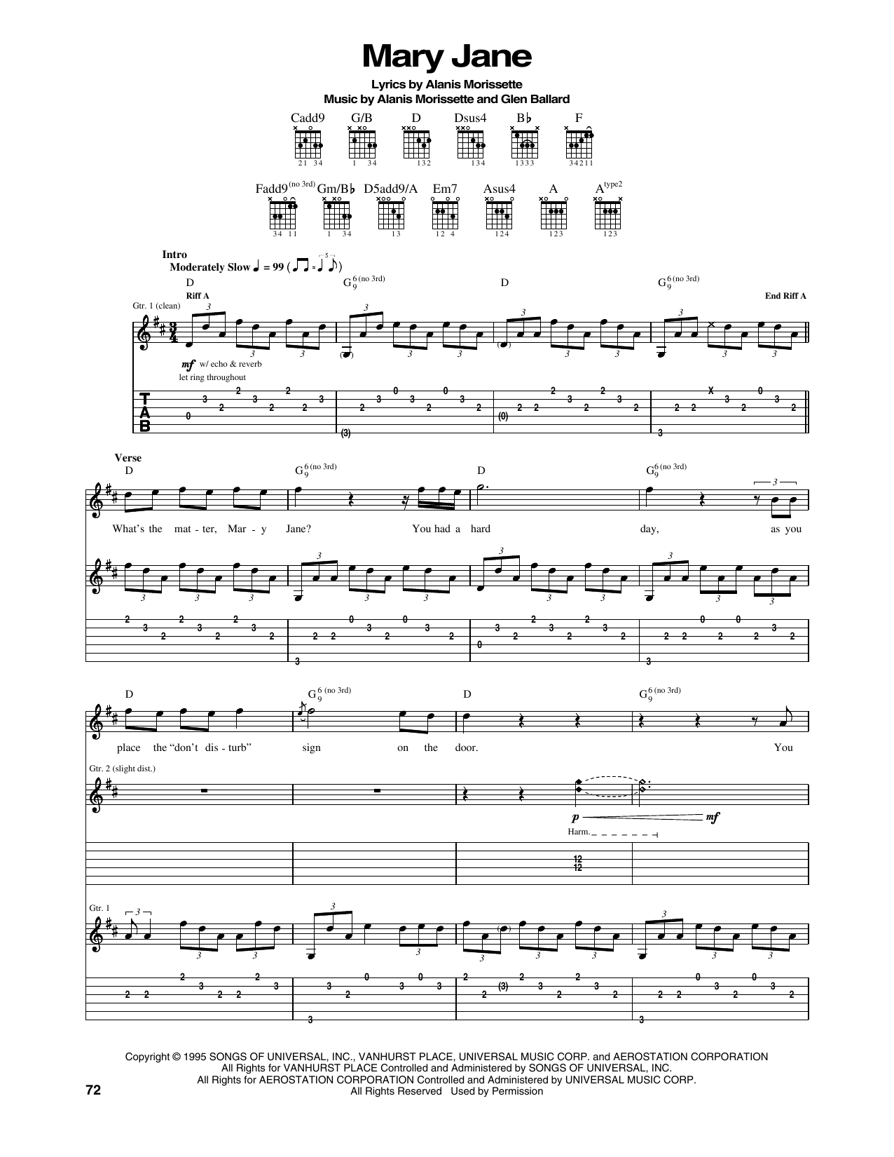 Tablature guitare Mary Jane de Alanis Morissette - Tablature Guitare