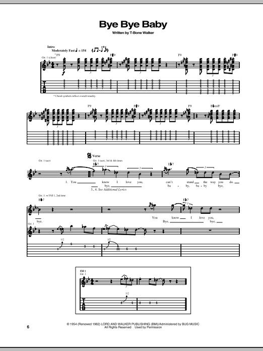Tablature guitare Bye Bye Baby de T-Bone Walker - Tablature Guitare