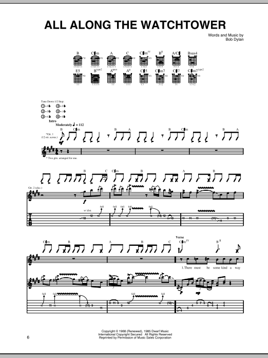 Tablature guitare All Along The Watchtower de Jimi Hendrix - Tablature Guitare