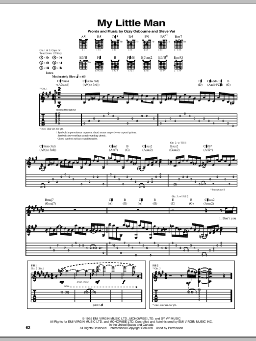 Tablature guitare My Little Man de Ozzy Osbourne - Tablature Guitare