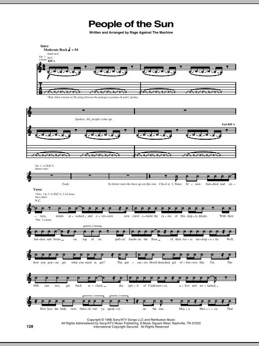 People Of The Sun sheet music for guitar solo (tablature) by Rage Against The Machine