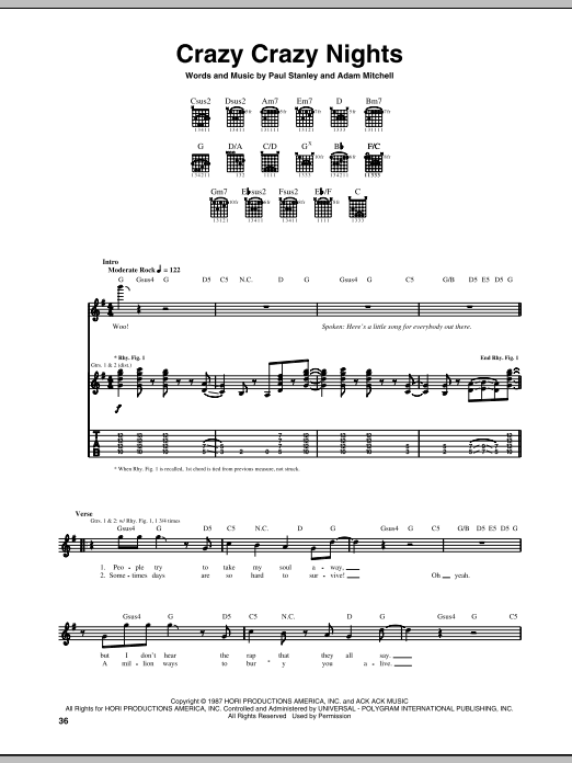 Crazy Crazy Nights sheet music for guitar solo (tablature) by Paul Stanley
