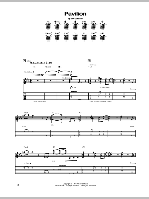 Tablature guitare Pavilion de Eric Johnson - Tablature Guitare