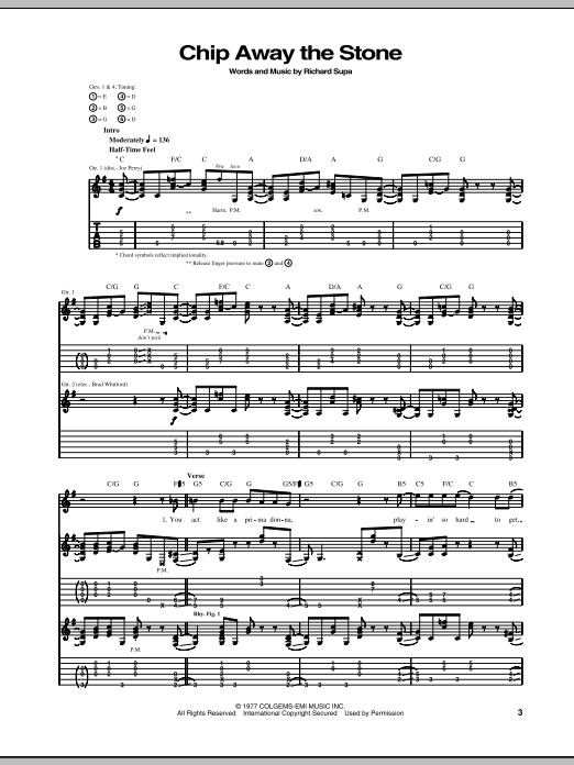 Tablature guitare Chip Away The Stone de Aerosmith - Tablature Guitare