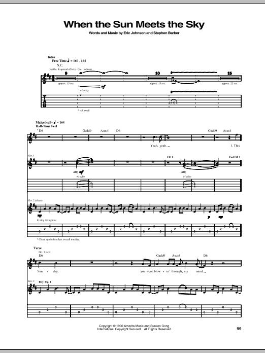 Tablature guitare When The Sun Meets The Sky de Eric Johnson - Tablature Guitare