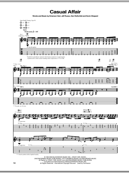 Tablature guitare Casual Affair de Tonic - Tablature Guitare