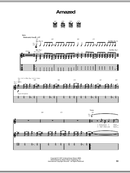 Tablature guitare Amazed de The Offspring - Tablature Guitare