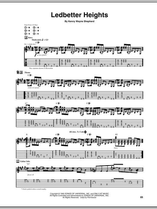 Tablature guitare Ledbetter Heights de Kenny Wayne Shepherd - Tablature Guitare