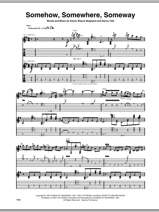Tablature guitare Somehow, Somewhere, Someway de Kenny Wayne Shepherd - Tablature Guitare